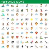 100 force icons set, cartoon style. 100 force icons set in cartoon style for any design illustration stock illustration