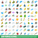 100 force icons set, isometric 3d style Stock Photos