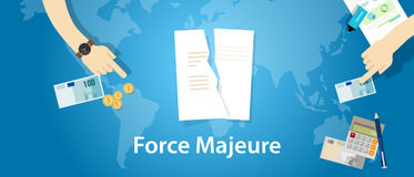 Force majeure clause included in contracts to remove liability for unavoidable catastrophes that restrict participants. From fulfilling obligations vector Royalty Free Stock Photo
