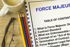 Force majeure definition concept. With cover of a lecture defining force majeure Royalty Free Stock Photos