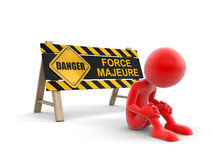 Force majeure sign and man (clipping path included) Royalty Free Stock Photos