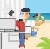 Force o pânico que o trabalhador de escritório a multitarefas contra relaxa meditando o freelancer, horizontalmente Fotos de Stock Royalty Free
