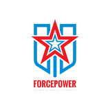 Force power concept sign. Star, shield and stripes - vector logo template illustration. Abstract symbol. Design element.  Royalty Free Stock Image