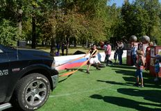 The force shifts the car on Poklonnaya Hill. MOSCOW, RUSSIA - AUGUST 22, 2015:The force shifts the car on Poklonnaya Hill royalty free stock photo