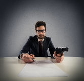 Force you to sign an agreement Stock Photography