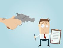Forced businessman with a contract. Illustration of a forced businessman with a contract stock illustration