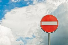 Forced directions road sign with sky background Royalty Free Stock Photography