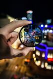 A Forced Focus view of Downtown Fort Worth Texas at Night royalty free stock photography