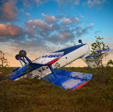 Forced landing of plane Royalty Free Stock Photo