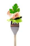 Forcella con lo spuntino: prosciutto fresco Fotografie Stock Libere da Diritti