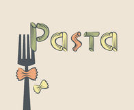 Forcella con pasta Fotografie Stock