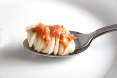 Forcella con spaghetti Fotografia Stock