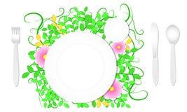 Forcella del coltello del cucchiaio del piatto di vista superiore e fondo del fiore della foglia derisione del modello di progett illustrazione di stock