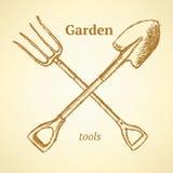 Forcella del giardino e pala, fondo nello stile di schizzo illustrazione vettoriale