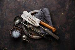 Forcella della carne dell'articolo da cucina e macellaio Cleaver fotografia stock