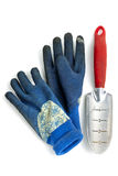 Forcella di giardino sporca con i guanti Fotografie Stock Libere da Diritti