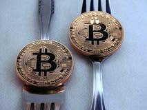 Forcella duro morbida di Bitcoin fotografia stock libera da diritti
