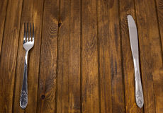 Forcella e coltello Fotografia Stock