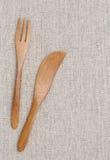 Forcella e coltello di legno Fotografie Stock