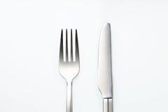 Forcella e coltello inossidabili Fotografie Stock