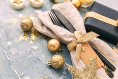 forcella e coltello sopra fondo d'annata Cena del buon anno Priorità bassa di natale Fotografie Stock Libere da Diritti