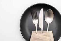 forcella e coltello vuoti del cucchiaio del piatto fotografia stock libera da diritti