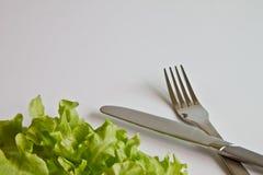 Forcella e lama con la verdura verde fotografia stock libera da diritti