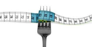 Forcella e nastro di misurazione Fotografie Stock Libere da Diritti