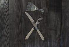 Forcella e vetro attraversati del coltello Fotografia Stock Libera da Diritti