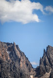 Forcella Sassolungo, Dolomiti, Trentino Alto Adige, Italy. Particuler of Sassolungo group, Forcella, 2681 meters, between Sassolungo and Cinquedita from Siusi Stock Photo