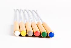 Forcelle colorate della fonduta Fotografia Stock Libera da Diritti