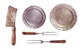 Forcelle e piatti della mannaia di carne Immagini Stock