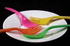 Forcelle nei colori differenti in piatto isolato Fotografia Stock Libera da Diritti