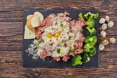 Forcemeat, broccoli, cheese, eggs, spices mixture. Raw fresh forcemeat with panko breadcrumbs, shredded cheese and cooked broccoli, eggs and spices to make meat Royalty Free Stock Photo