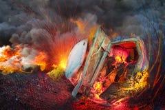 Forcerad bilbrand arkivfoto