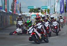 Forcerad plats på den malaysiska gröngölingen Prix 2014 Arkivbild