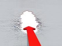 Forcerad röd pil för vägg Fotografering för Bildbyråer
