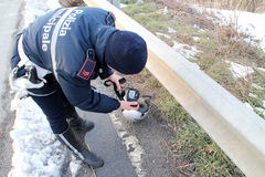 forcerad vägsparkcykel för olycka Arkivfoto