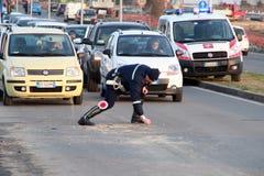 forcerad vägsparkcykel för olycka Royaltyfria Foton