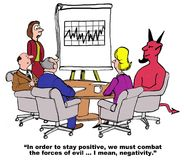 Forces of Negativity. Business cartoon of a meeting, which includes the devil, and a chart showing inconsistent sales results.  The leader says, 'in order to Royalty Free Stock Photography