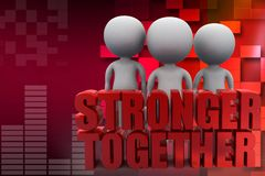 Forces to lift the words Stronger Together illustration Royalty Free Stock Photography