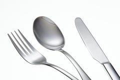 Forchetta, cucchiaio e coltello inossidabili Fotografia Stock Libera da Diritti