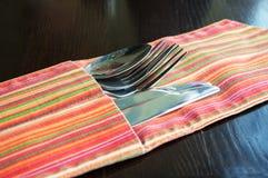 Forchetta, cucchiaio e lama Fotografia Stock