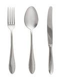 Forchetta, cucchiaio e lama fotografie stock