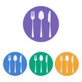 Forchetta, cucchiaio e lama Immagini Stock