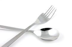 Forchetta e cucchiaio Fotografia Stock