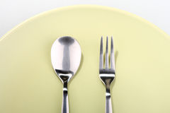 Forchetta e cucchiaio Fotografie Stock Libere da Diritti
