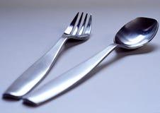 Forchetta e cucchiaio Fotografia Stock Libera da Diritti