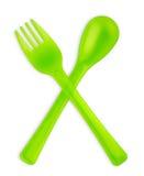 Forchetta e cucchiaio del bambino Immagini Stock Libere da Diritti
