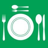 Forchetta e cucchiaio del piatto Fotografie Stock Libere da Diritti